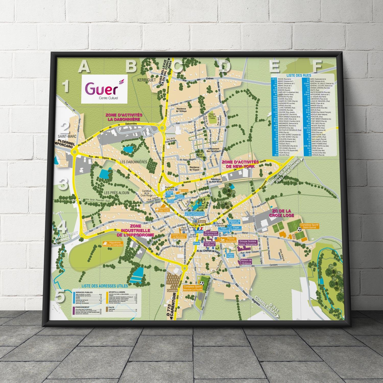 Création du plan plié de la ville de Guer